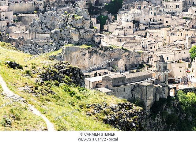 Italy, Basilicata, Matera, Church San Pietro Caveoso at historical cave dwelling, Sassi di Matera