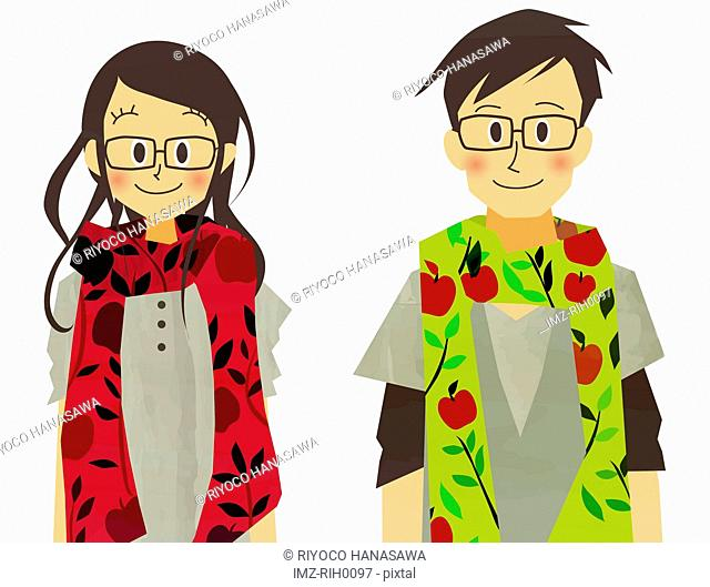 Illustration of a couple wearing matching scarves