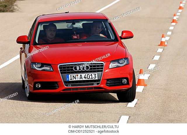 Audi A4 1.8 TFSI Ambition, model year 2007-, red, driving, diagonal from the front, frontal view, Pilonen, Test track