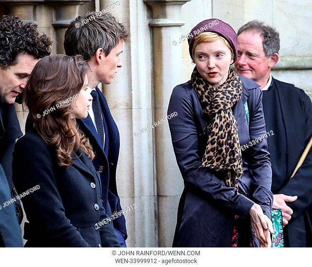 The funeral of Stephen Hawking at Great St. Mary Church in Cambridge Featuring: Lily Cole, Eddie Redmayne, Felicity Jones Where: Cambridge