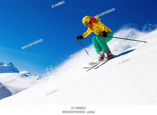 Switzerland, Graubuenden, Obersaxen, female Skier