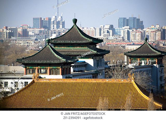 view at temple and city centre from Jingshan park in Beijing