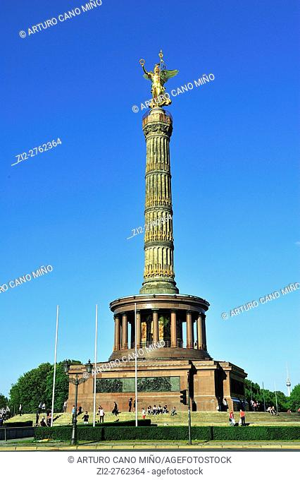 The Victory Column or Siegessäule, by Heinrich Strack, 1864, is a monument in Tiergarten Park. Berlin, Germany