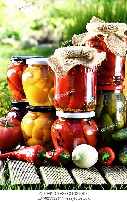 Jars of pickled vegetables and fruits in the garden. Marinated food