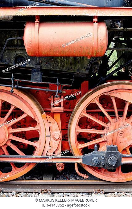 Detail of a DR-series 52 steam locomotive, Schwarzwald-Baar district, Baden-Wuerttemberg, Germany