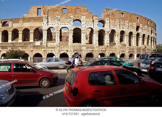 Traffic queue in front of the Colosseum Rome Italy Europe