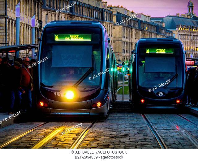 France. Nouvelle Aquitaine. Gironde. Tramways on Porte de Bourgogne station, at Bordeaux