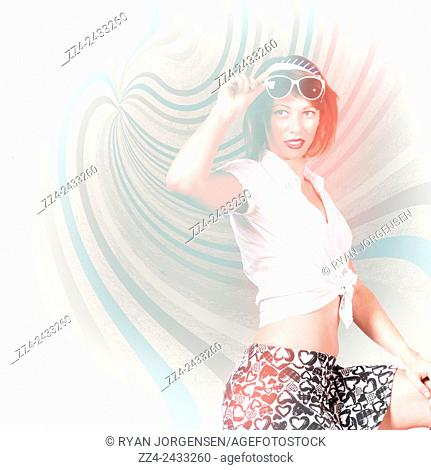 Bright high-key fashion photograph of a funky pinup girl on a retro swirl background. High-end fashion look