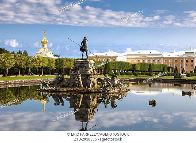 Neptune Fountain, Upper garden of Peterhof Palace. St. Petersburg, Russia