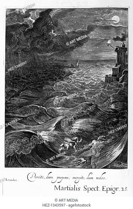 Leander Swims Over the Hellespont to Meet his Mistress Hero, 1655. A plate from Michel de Marolles's Tableaux du Temple des Muses, Paris, 1655