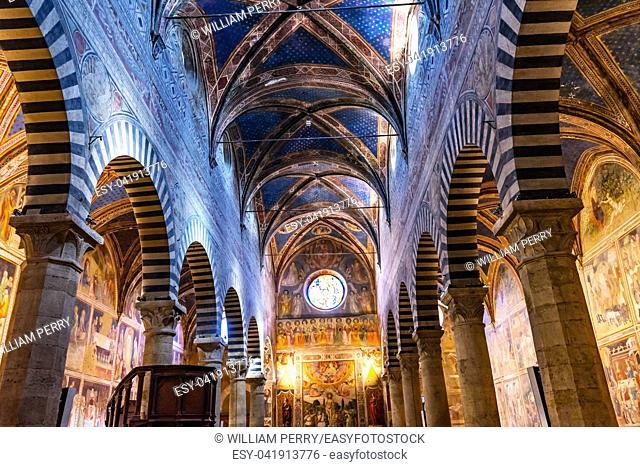 Nave Medieval Renaissance Collegiate Church of Santa Maria Assunta San Gimignano Tuscany Italy
