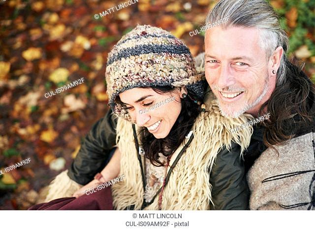 High angle portrait of mature hippy couple