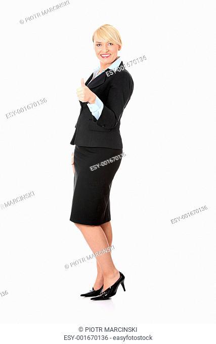 Mature business woman's gesticulating ok