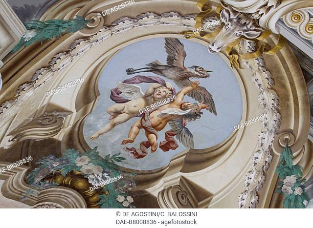 Winged puttos, central hall with frescoes by Domenico and Giuseppe Valeriani, Hunting residence (UNESCO World Heritage Site, 1997)