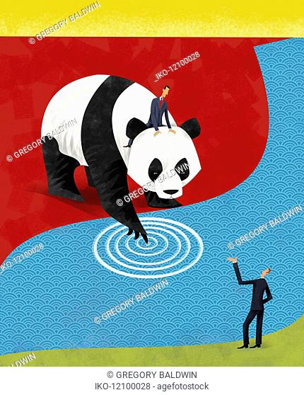 Businessman riding on back of Chinese giant panda dipping paw in water