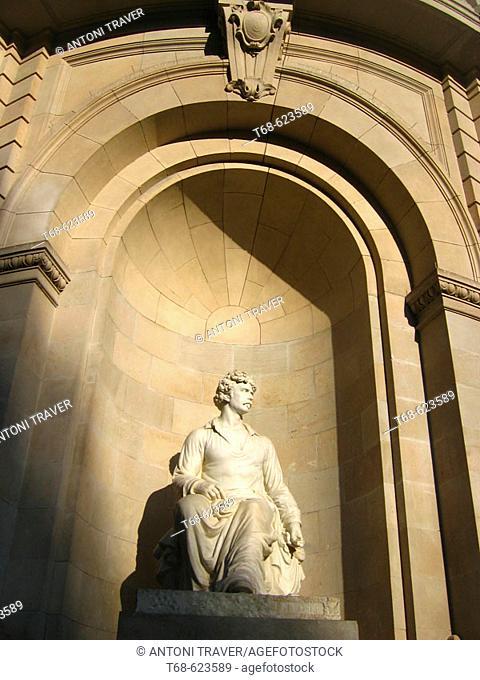 Mariano Fortuny sculpture. Mariano Fortuny street, Barcelona, Catalonia, Spain