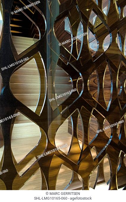 Detail of glass room divider wall