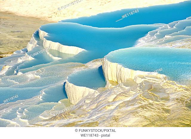 Photo & Image of Pamukkale Travetine Terrace, Turkey Picture of the white Calcium carbonate rock formations
