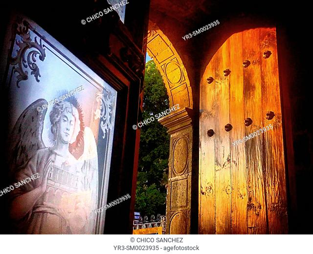 An angel decorates the doors of the Cathedral of Oaxaca, Mexico