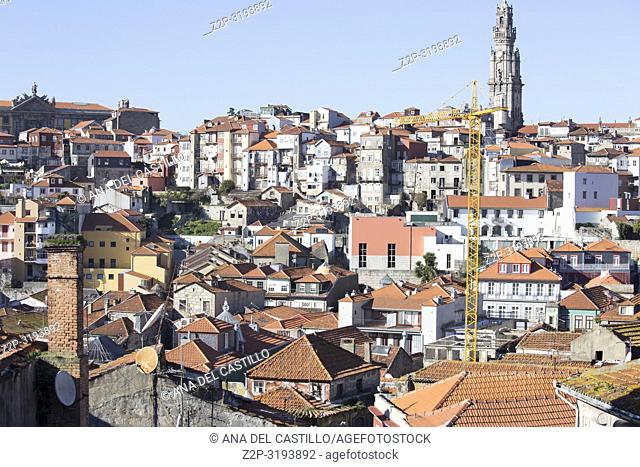 Aerial view of the old town in Oporto from the cathedral outlook, Portugal