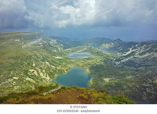 Clouds over The Twin, The Trefoil, the Fish and The Lower Lakes, The Seven Rila Lakes, Bulgaria
