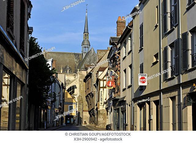 rue principale de Nogent-le-Roi avec l'eglise Saint-Sulpice en arriere-plan, departement Eure-et-Loir, region Centre-Val de Loire, France