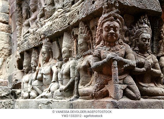 Terrace of the Leper king at Angkor, Cambodia  V10CAM0110RM