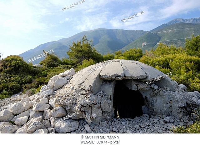 Albania, bunker on the beach of Palasa at Llogara Pass