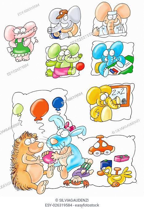 porcupine, rabbit, toy, car, ball, balloons, litigation, desire, play, enjoy, friends, happy, fun, cartoons, colors, elephants, guidance, nurse, taxi driver