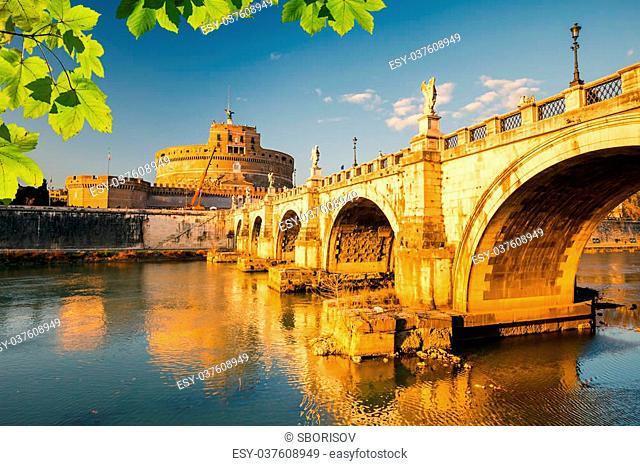Saint Angel Castle and bridge over the Tiber river in Rome, Italy