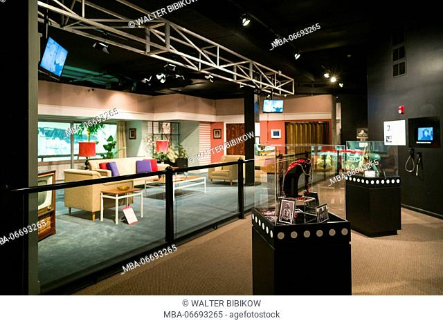 USA, New York, Western New York, Jamestown, Lucy-Desi Museum, dedicated to comedy star Lucille Ball of the 1950s-era TV show, I Love Lucy, living room set