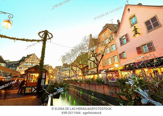 Christmas market and lights decoration at the city center. Colmar. Wine route. Haut-Rhin. Alsace. France