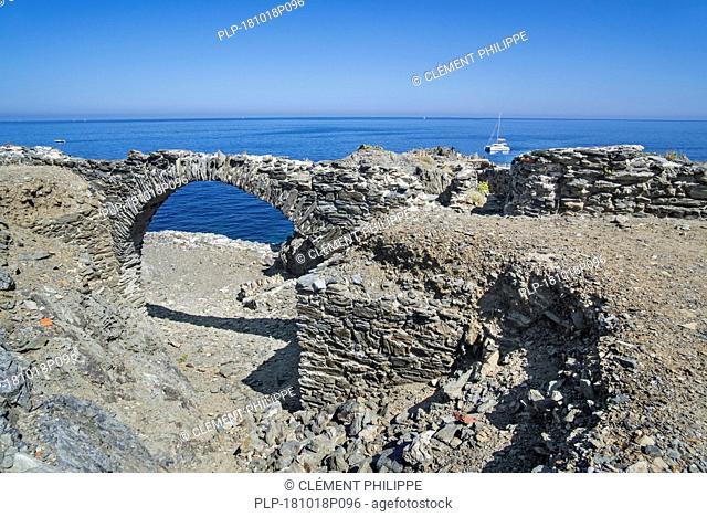 15th century ruins of Fort de la Mauresque at Cap Gros near Port-Vendres, Côte Vermeille, Pyrénées-Orientales, France