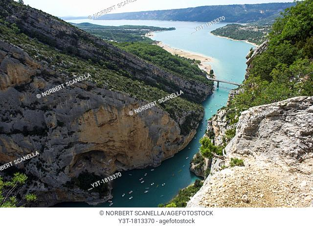 Europe, France, Var, Regional Natural Park of Verdon, Gorges du Verdon. The canyon and the lake of Sainte Croix