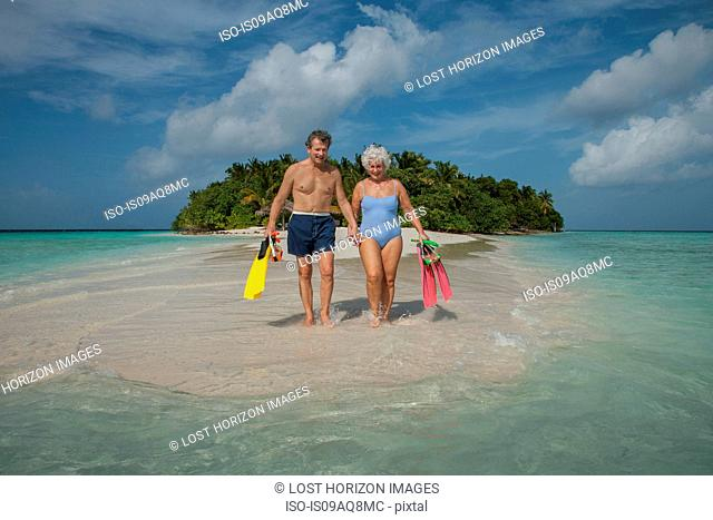 Senior couple on holiday, Maldives