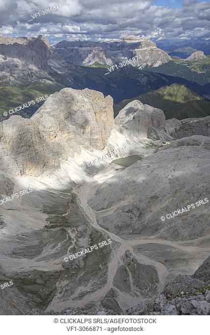 Antermoia valley, Croda del Lago, Sasso di Dona, Lago d'Antermoia, Sassopiatto, Piz Boè, and Punta Grohmann panorama from Catinaccio d'Antermoia summit