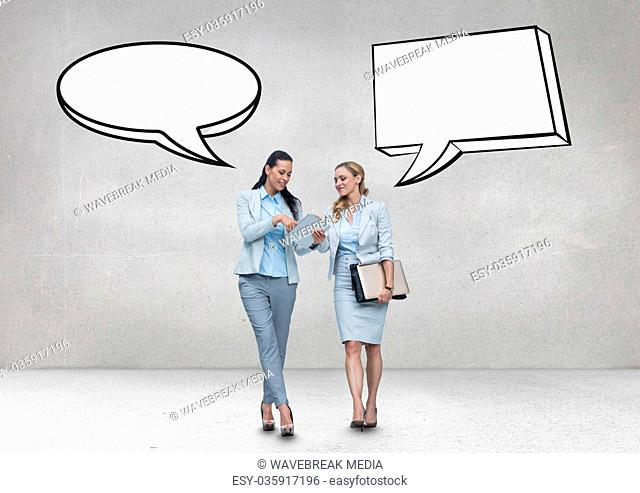 Business women with speech bubble talking against grey background