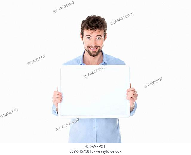one guy with a white banner in his hands