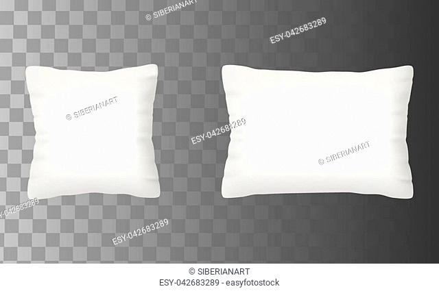 Blank white pillow mock up set. Square and rectangle shape cushion icon set. Vector realistic illustration isolated on transparent background