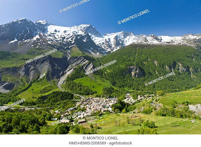 France, Hautes-Alpes, Ecrins National Park, the village of La Grave la Meije, labeled Les Plus Beaux Villages de France (The Most Beautiful Villages of France)...