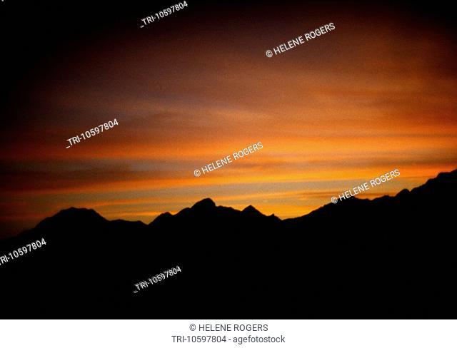 Sunset over Mountain Khor Fakkan Sharjah UAE