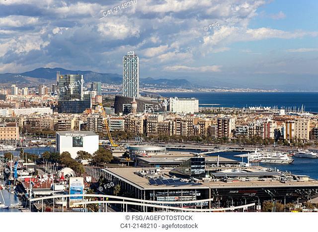 Overview of Barcelona. Barcelona, Spain