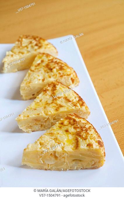 Spanish tapa: Spanish omelet, close view. Spain