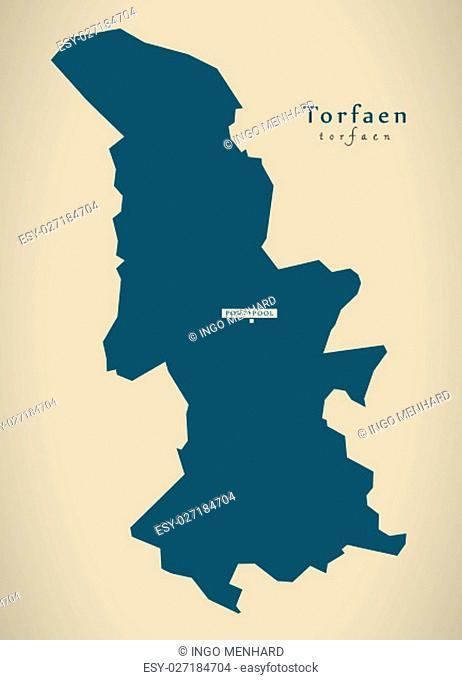 Modern Map - Torfaen Wales UK illustration