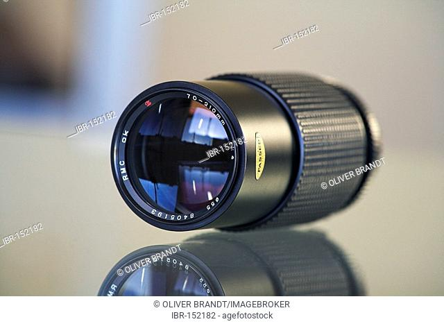 Close-up of a telephoto zoom lens