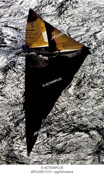 Overhead view of a yacht at sea