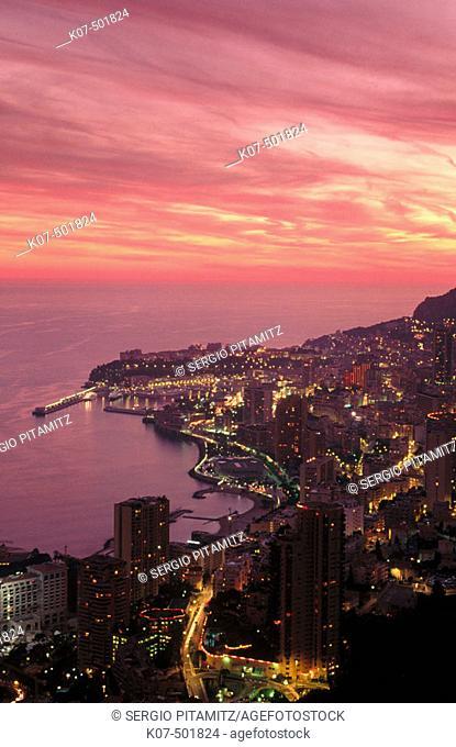 Montecarlo at dusk. Côte d'Azur, Monaco