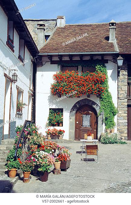 Facade of traditional house. Hecho, Huesca province, Aragon, Spain