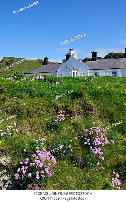 Cottages at Bull Point lighthouse near Mortehoe, Devon, England, United Kingdom