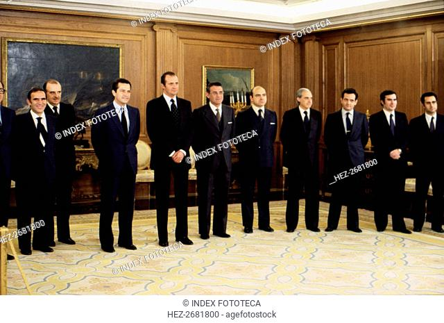 Juan Carlos I. (1938 -), King of Spain, at the Zarzuela Palace with the 4th government of Preside?